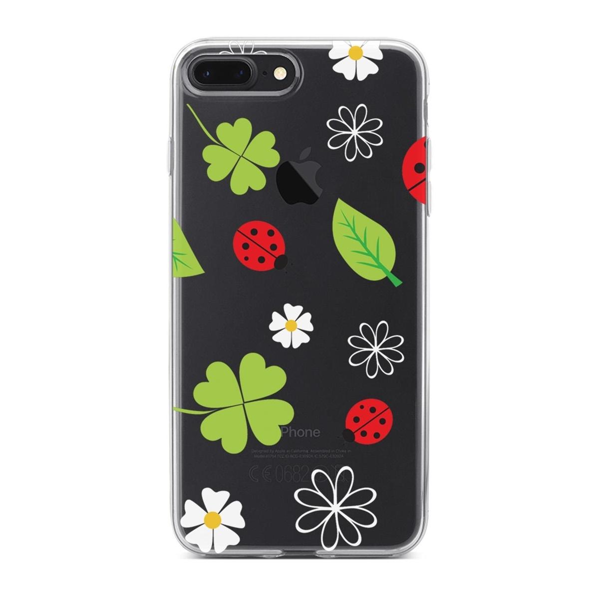 Standart Lopard Apple iPhone 8 Plus Kılıf Uğur Böcekleri Yonca Kapak